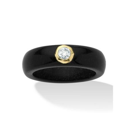 Gold Jade Ring - .30 TCW Round Genuine White Topaz and Genuine Black Jade 10k Yellow Gold Band Ring
