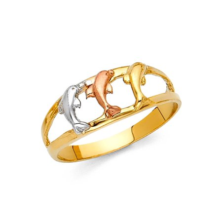 14K Solid Gold Fancy Tri-color Dolphin Ring, Size 6