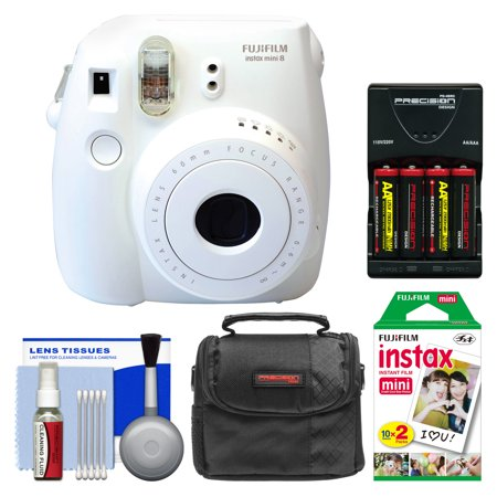 Fujifilm Instax Mini 8 Instant Film Camera (White) with 20 Instant Film + Case + (4) Batteries & Charger + Kit
