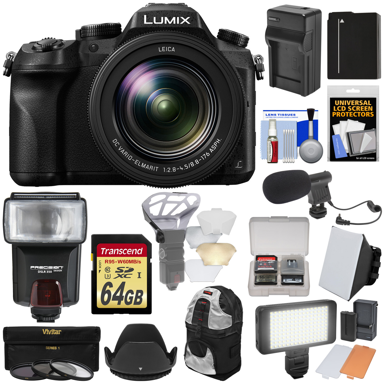 Panasonic Lumix DMC-FZ2500 4K Wi-Fi Digital Camera with 64GB Card + Battery & Charger + Backpack + Flash + Soft Box + LED Light + Mic + Kit