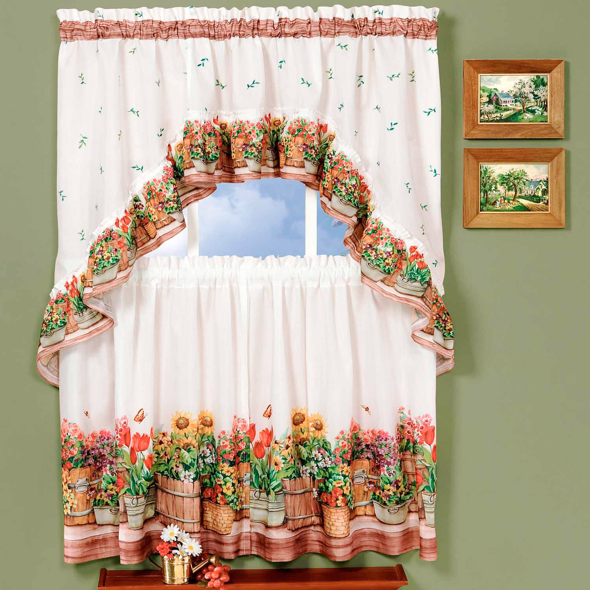 Kitchen Curtain and Swag Set, Country Garden