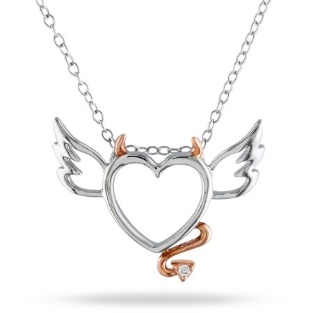 Diamond Accent Two-Tone Sterling Silver Devil and Angel Heart Women's Pendant Necklace, (Sterling Angel Pendant)
