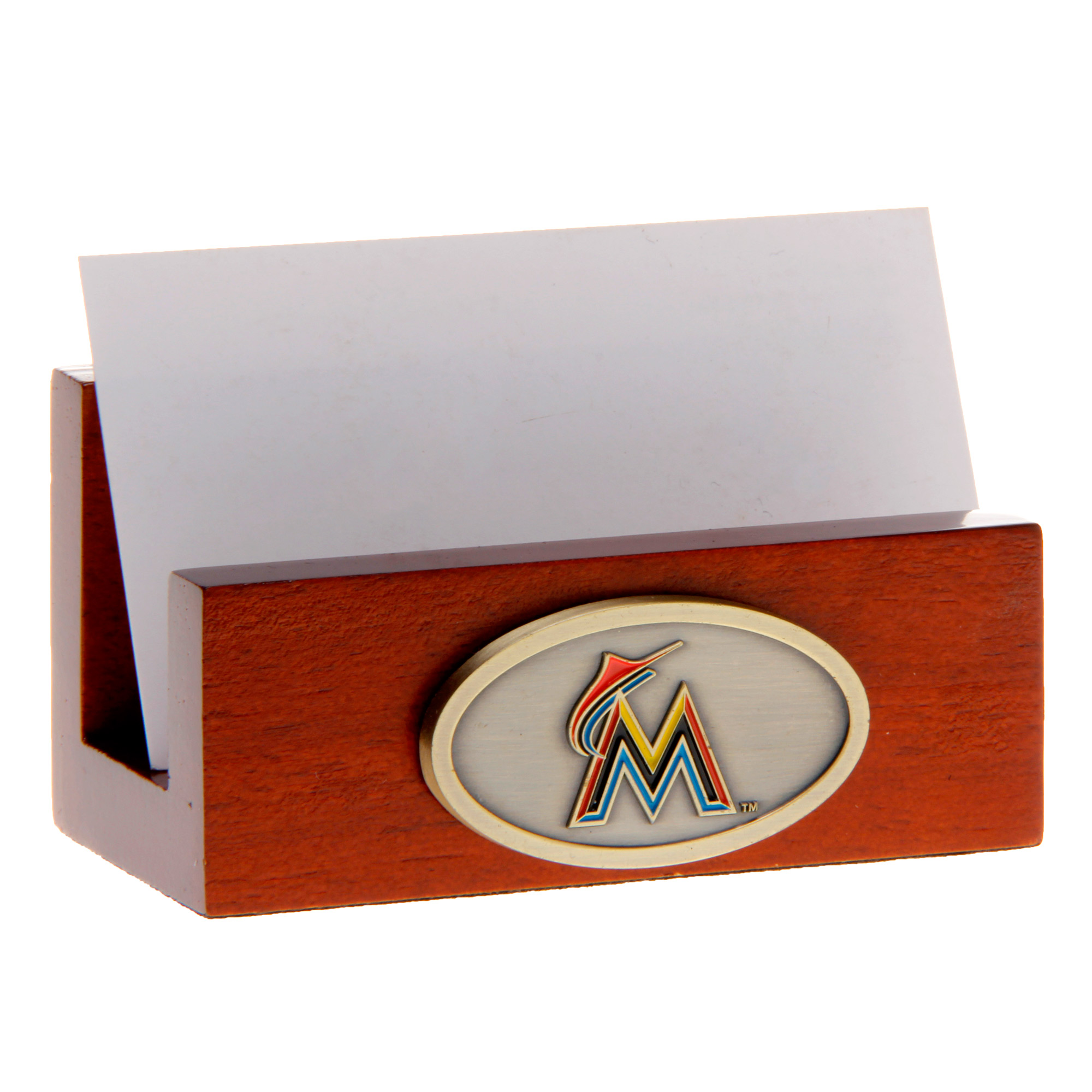 Miami Marlins Wood Team Business Card Holder - No Size