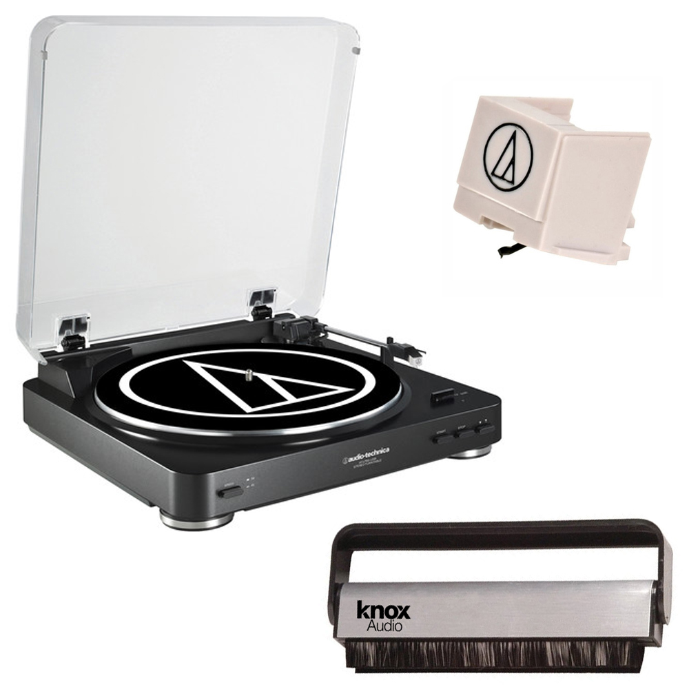 Audio Technica AT-LP60BK Fully Automatic Turntable (Black) w/ Knox Vinyl Brush & Extra ATN3600L Stylus