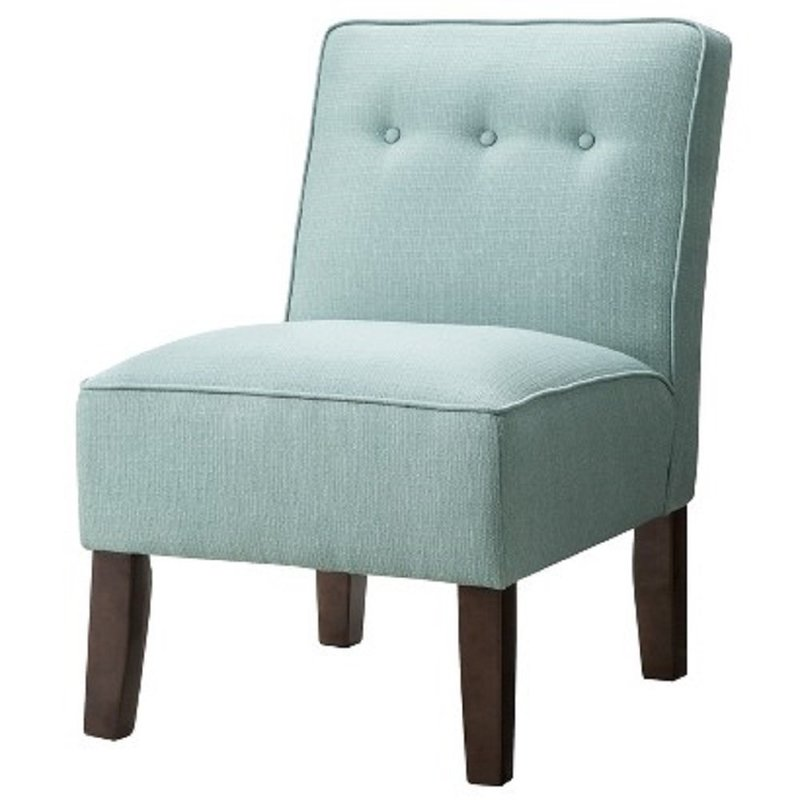 Skyline Upholstered Chair Burke Slipper Chair With Buttons, Turquoise  14542254