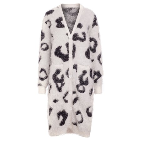 Women Knitted Cardigan Faux Fur Shaggy Leopard Print Button