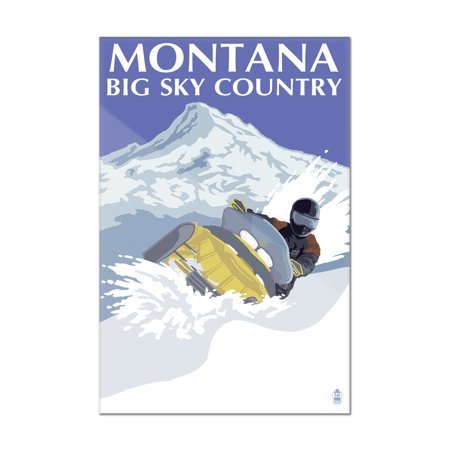 Montana Big Sky - Snowmobile Scene - Lantern Press Artwork (8x12 Acrylic Wall Art Gallery Quality) (Big Toy Store Scene)