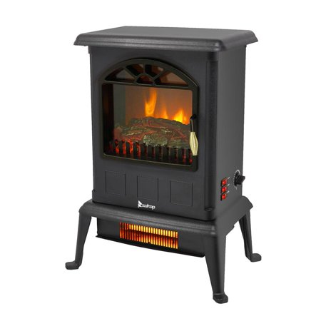 Ktaxon Small Electric Fireplace,Indoor Free Standing Stove Heater Fire Flame Stove Adjustable Classic Stoves Fireplaces