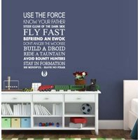 "Decal ~ USE THE FORCE~ Subway Art Decal: Children Star Wars Themed Wall Decal 13"" x 25"" (White)"