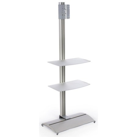 Aluminum Flat Panel TV Stand With 2 Large Acrylic Shelves Holds 32 - 42-Inch Monitors, 30 x 74-11/16 x 16-1/2-Inch, 200 x 200 and 200 x 100 VESA Compatible Bracket, (45 Large Flat Panel)