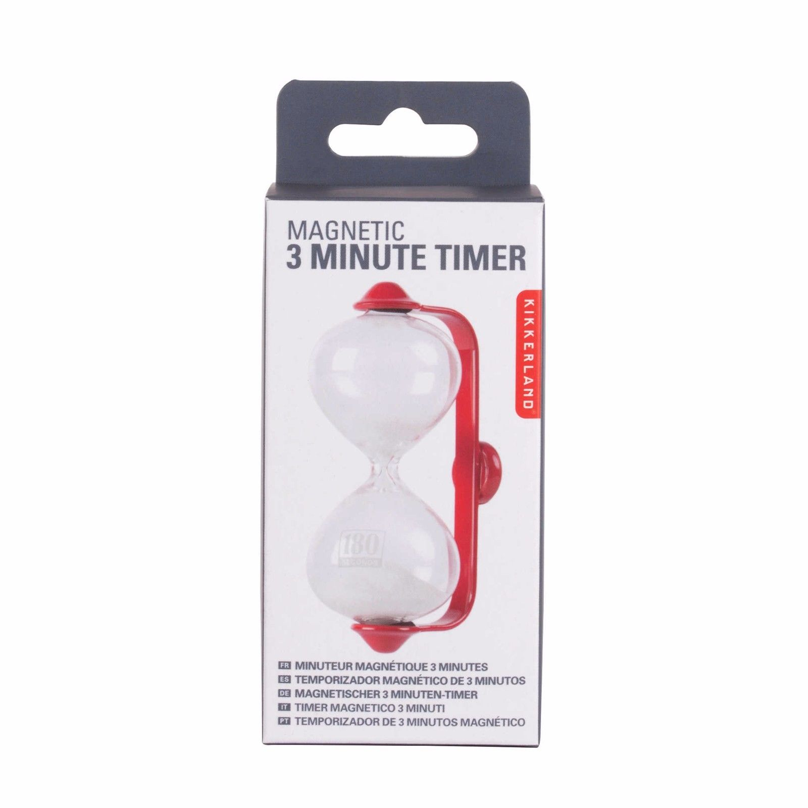 kikkerland magnetic 3 minute hourglass sand kitchen timer red