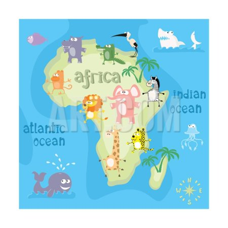 Concept Design Map of African Continent with Animals Drawing in ...