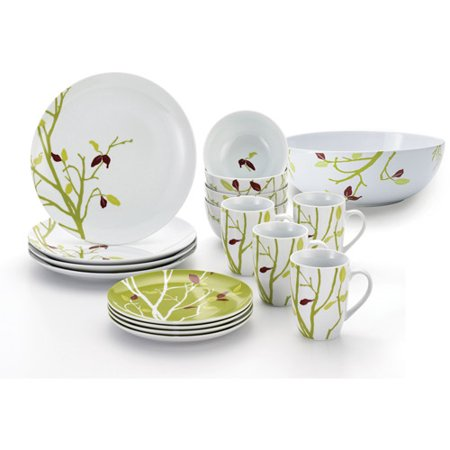 Rachael Ray 17pc Dinnerware Set and Serving Bowl, Seasons Changing