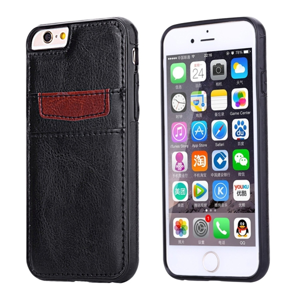 iPhone 6S 6 Black Leather Phone Case Wallet Cover Card ID Slots Protective Skin