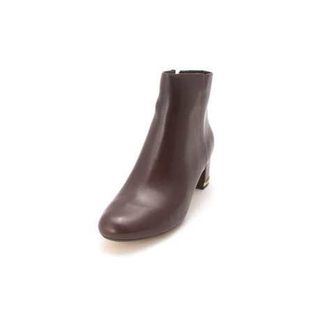 Michael Michael Kors Womens Sabrina Mid Bootie Leather Closed Toe Ankle (Michael Kors Dark Brown Boots)