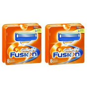 Gillette Fusion Refill Razor Blade Cartidges, 8 Ct. (Pack of 2)