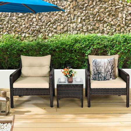 Costway 3PCS Outdoor Rattan Conversation Set Patio Garden Furniture Cushioned Sofa Chair - image 9 of 10
