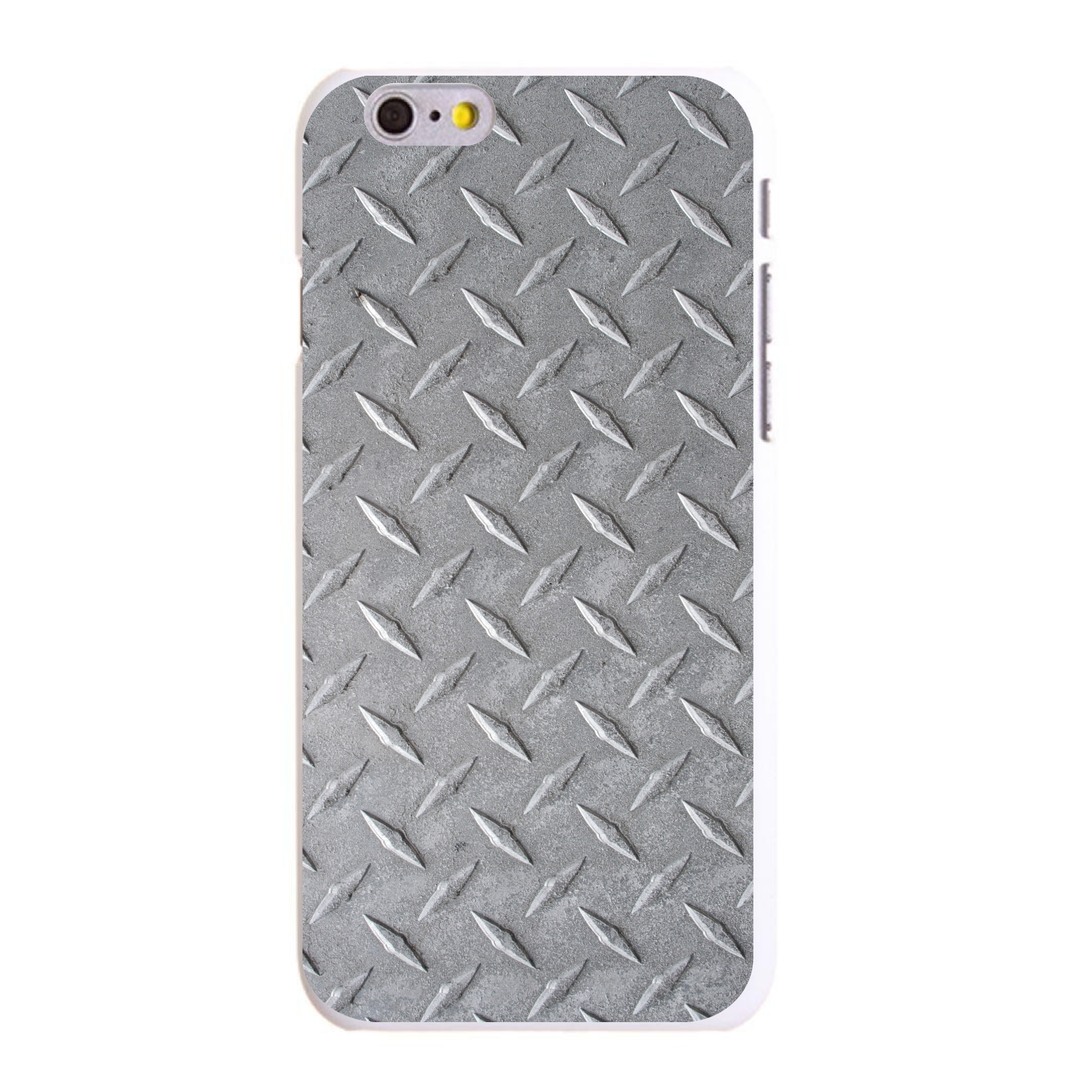 "CUSTOM White Hard Plastic Snap-On Case for Apple iPhone 6 PLUS / 6S PLUS (5.5"" Screen) - Grey Diamond Plate Steel"