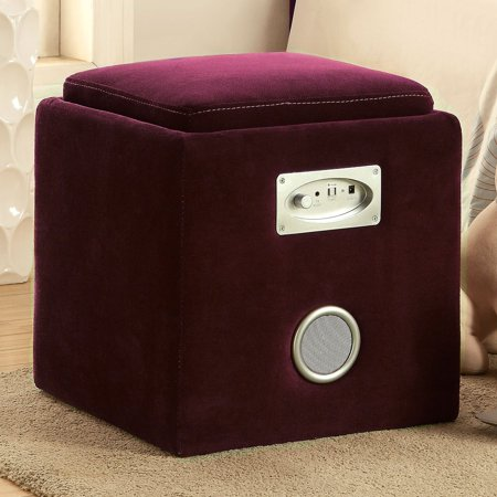 Furniture Of America Roget Storage Ottoman With Bluetooth
