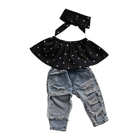 Baby Little Girls Summer Clothes Off Shoulder Polka Dot Top Destroyed Ripped Jeans Outfit Set (Toddler Girl Spring Clothes)