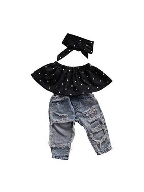 2b43882bd752 Product Image Baby Little Girls Summer Clothes Off Shoulder Polka Dot Top  Destroyed Ripped Jeans Outfit Set
