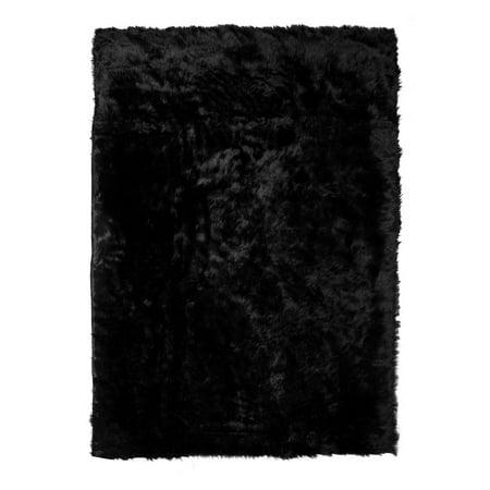 Ailis Faux Sheepskin Fur Area Rug Black Rectangular 7x5