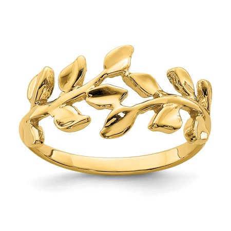 14K Yellow Gold Plated Polished Leaf Ring