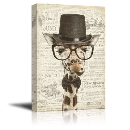 wall26 Creative Animal Figure on Vintage Paper Canvas Wall Art - Mr Giraffe - Giclee Print Gallery Wrap Modern Home Decor Ready to Hang - 32x48 (Rd Giraffe)