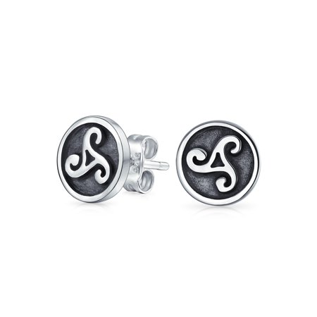 Round Two Toned Triskele Trinity Spiral Disc Stud Earrings For Women 925 Sterling Silver