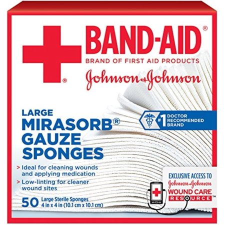 JOHNSON & JOHNSON Band-Aid Mirasorb Gauze Sponges 4 Inches X 4 Inches 50 Each (Pack of (Johnson & Johnson Non Stick)