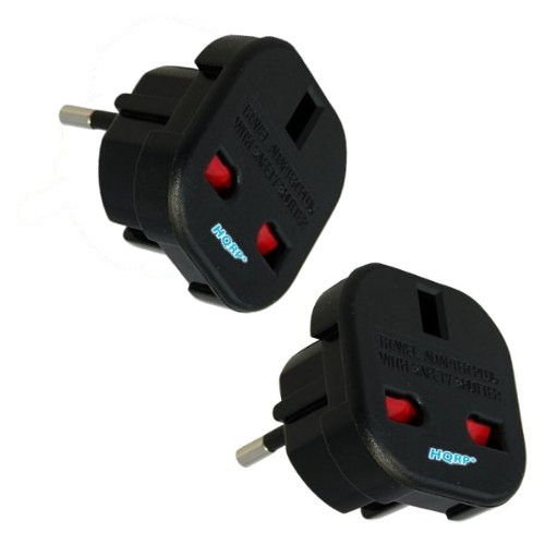 HQRP 2-Pack Uk 3 Pin To Euro 2 Pin Travel Plug Socket Adapters for Laptop / Hairdryer / Phone Charger / Chargers