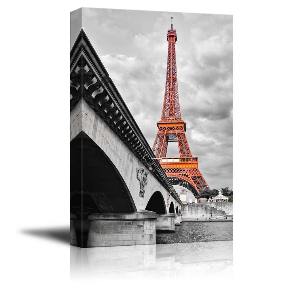 Wall26 pop of color the eiffel tower in paris red color stands out against black and white background canvas art home decor 12x18 inches