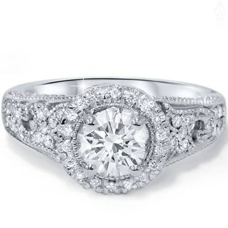 G/VS 1 1/5Ct Engagement Ring 100% Diamond White Gold Halo Solitaire Lab Created - image 4 of 4