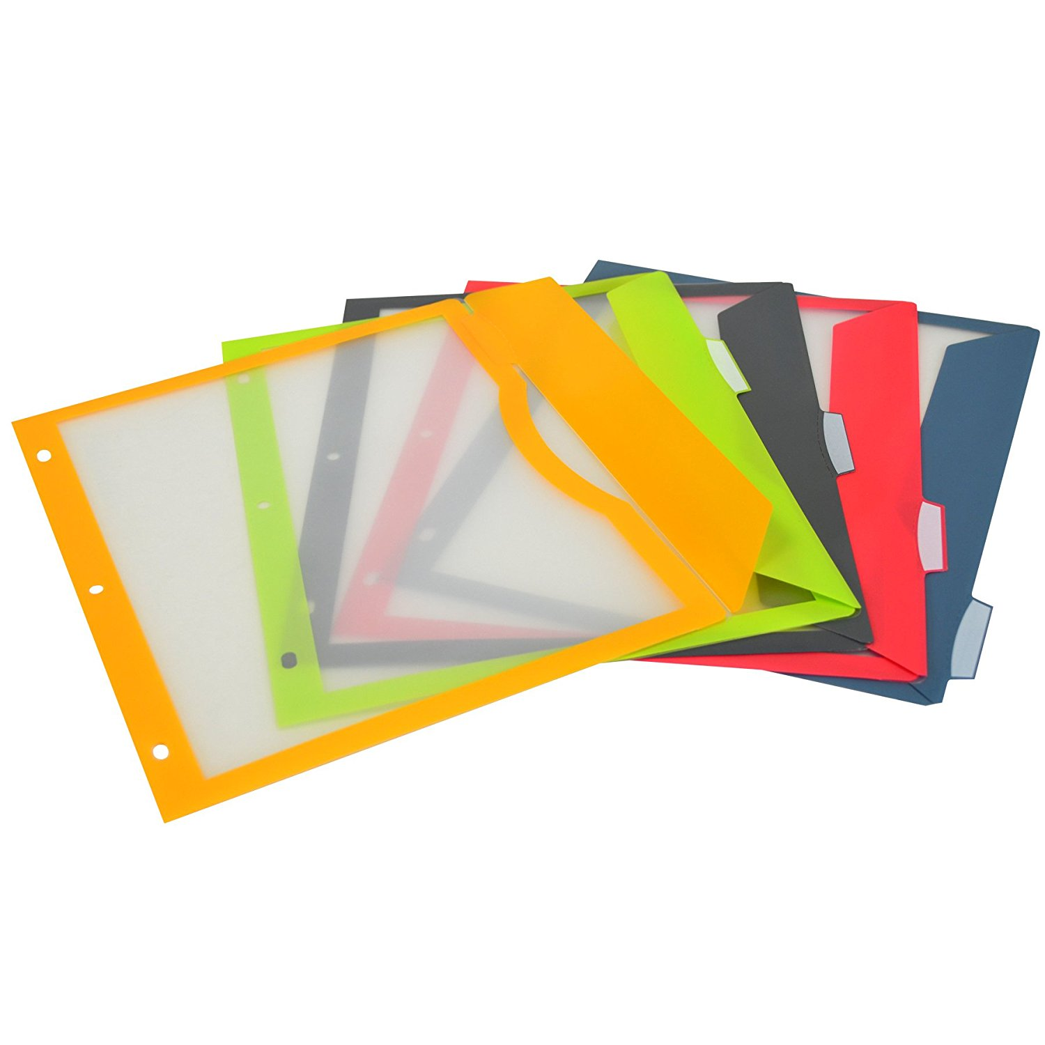 5 Pockets per Set New Version Assorted Colors 5-Tab Binder Pockets with Write-On Index Tabs 8.5 x 11 Inches