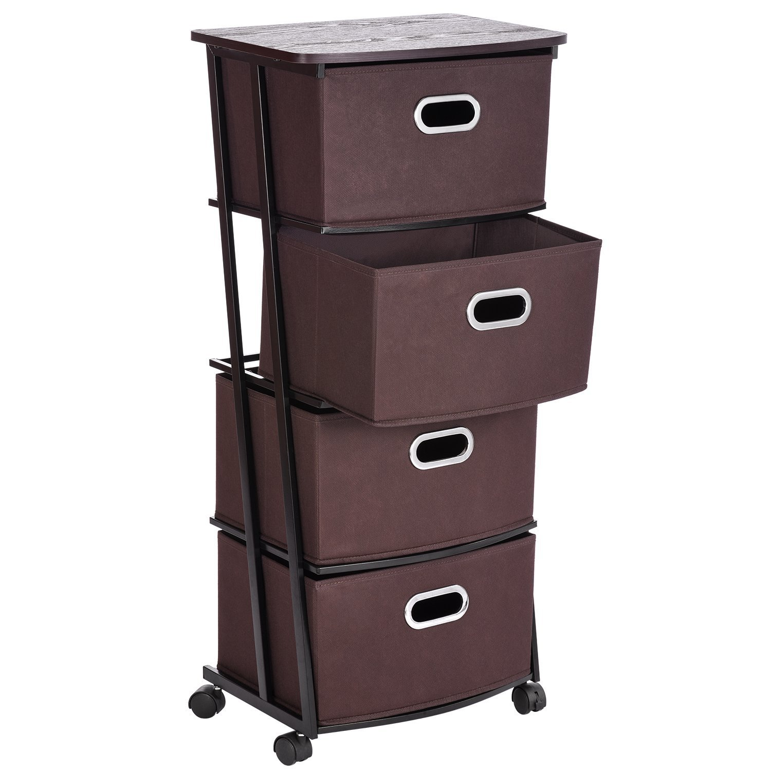 MaidMAX Rolling Storage Cart 4 Fabric Storage Drawer Cart Organizer On  Wheels 4 Nonwoven Collapsible Drawers