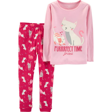 Long Sleeve Cotton Tight Fit Pajamas, 2-piece Set (Baby Girls & Toddler Girls)