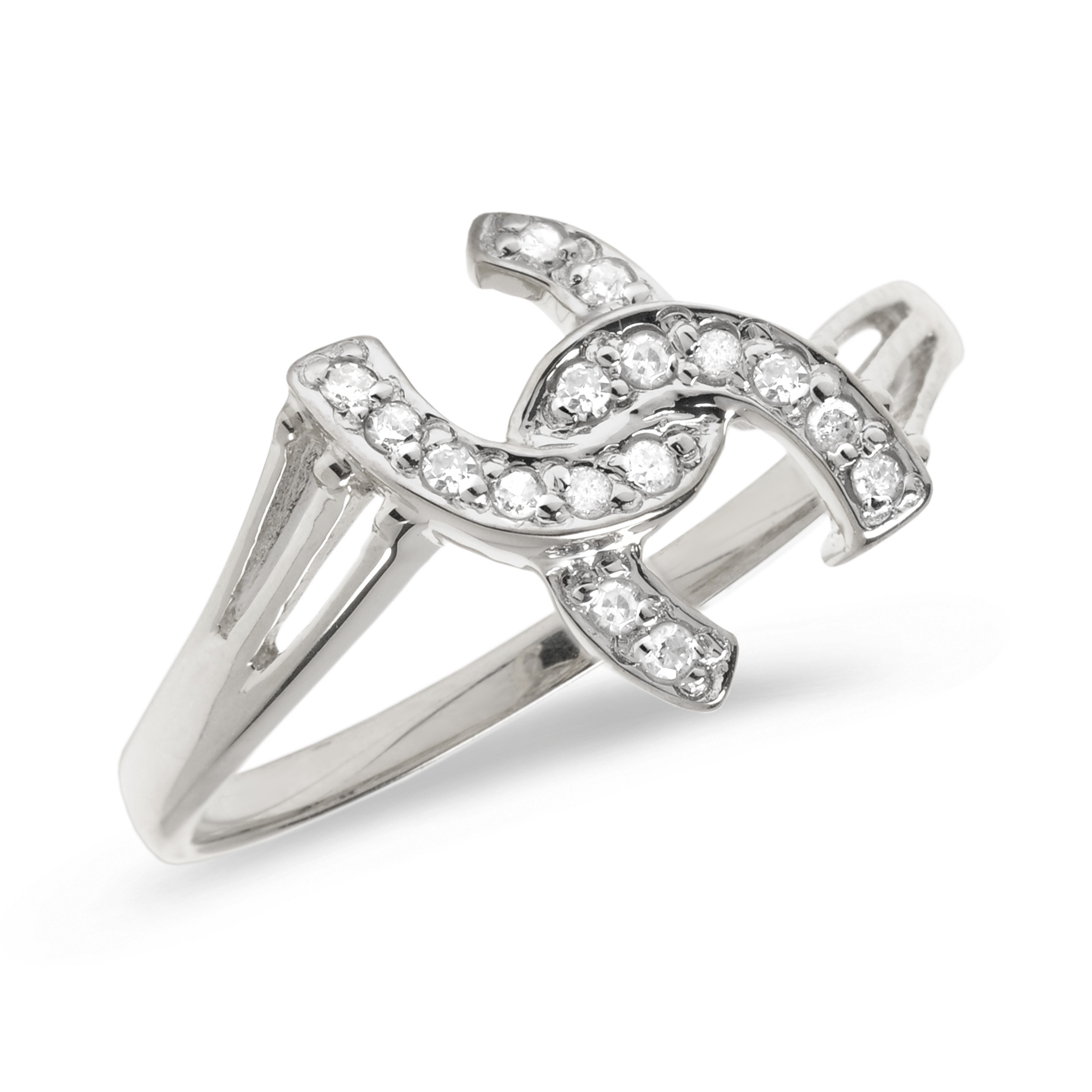 14K White Gold Diamond Horseshoe Ring