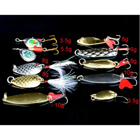【LNCDIS】Lot 10pcs Metal Fishing Lures Bass Spoon Crank Bait Saltwater Tackle Hooks thumbnail