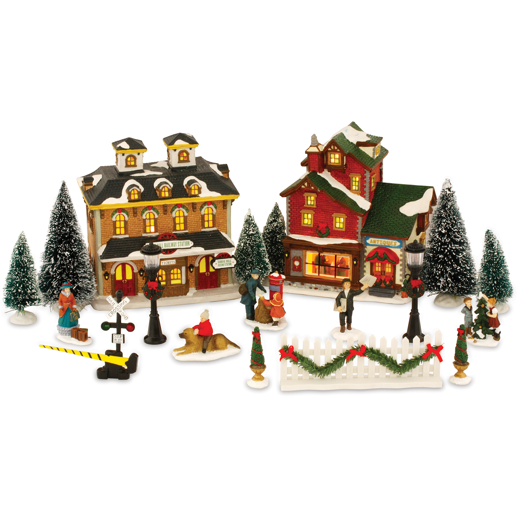 21-Piece Christmas Village Set - Walmart.com