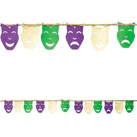 Mardi Gras String Garland Comedy Tragedy Foil Mask 9 ft (Comedy Tragedy Halloween Masks)