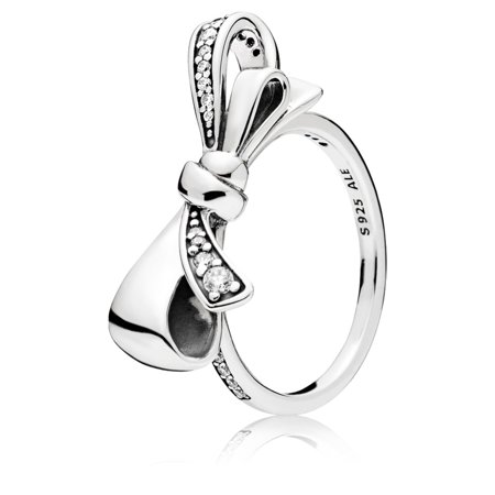 Silver Box Ring - Brilliant Bow, Clear CZ Bow silver ring w/clear CZ Ring sz 54 197232CZ-54