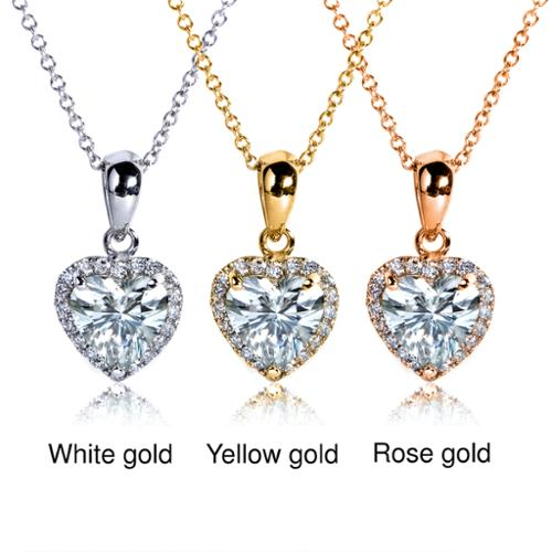 Annello 14k Gold Heart-cut Moissanite and 1/8ct TDW Diamond Necklace (G-H, I1-I2) Rose Gold