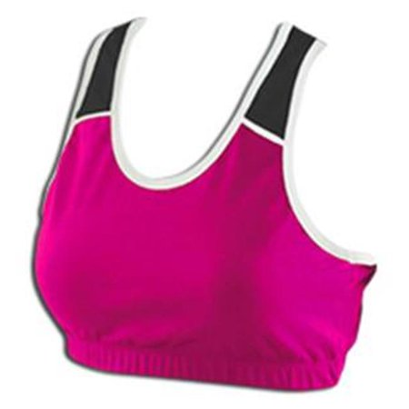 Pizzazz 1700 -HPKBLK-YM 1700 Youth Tri-Color Sports Bra, Hot Pink with Black - Medium - image 1 of 1
