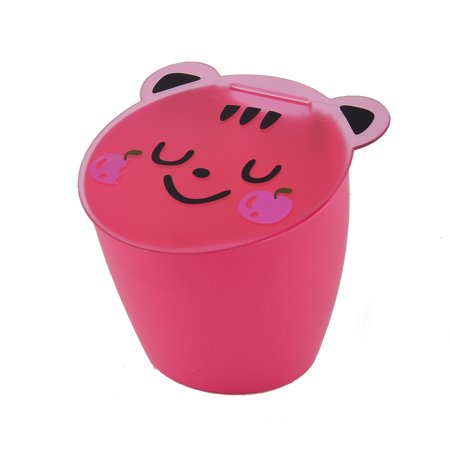 Household Home Desk Plastic Smiling Face Pattern Storage Bucket Box Holder - Pink Plastic Bucket