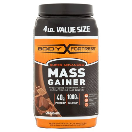 Body Fortress Super Advanced Mass Gainer Supplément de protéines chocolat en poudre, 4 lbs
