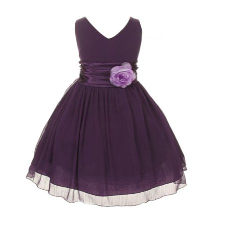 Chiffon Double V Neck Wedding Flower Girl Dress, Made in USA (14, purple)