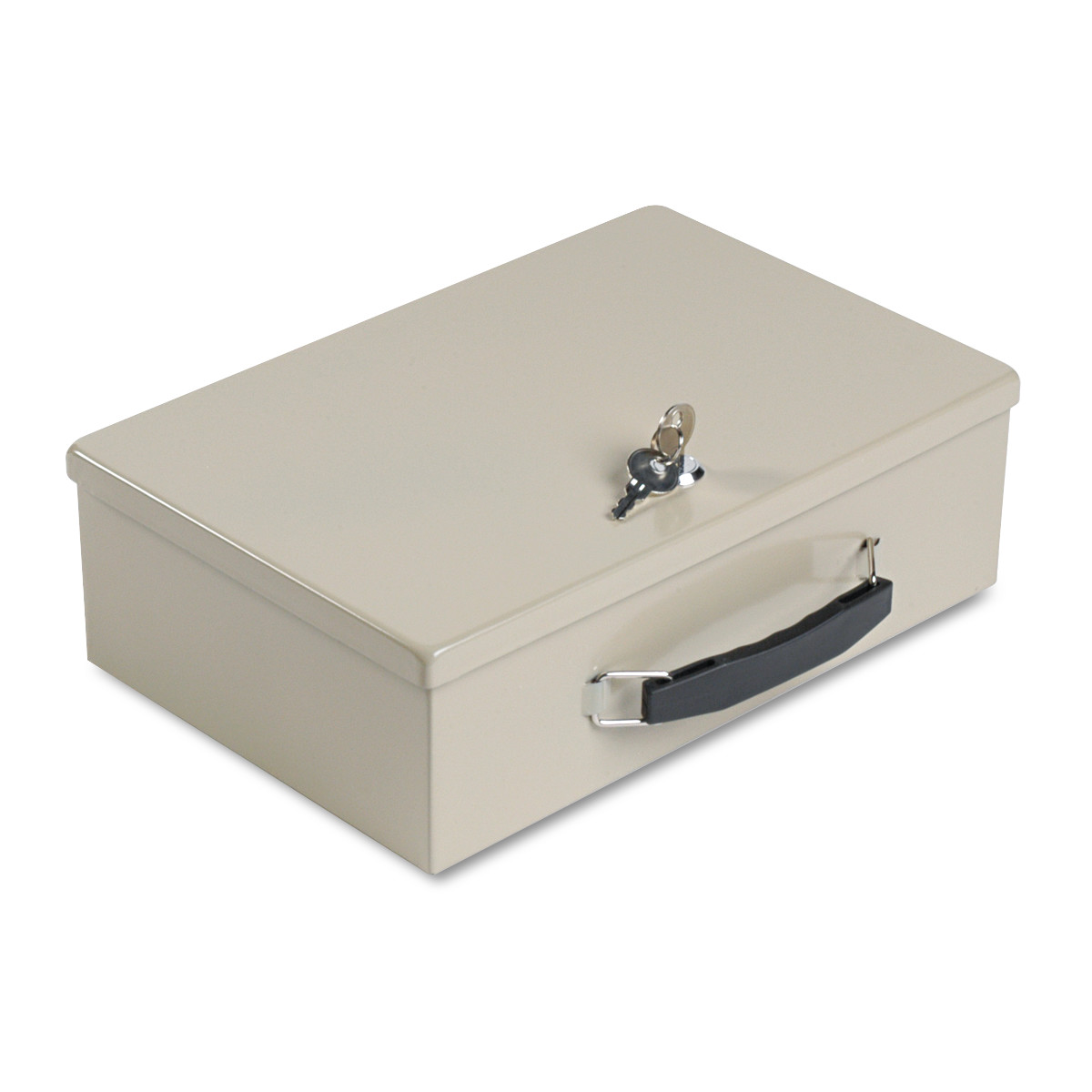 SteelMaster Heavy-Duty Steel Fire-Retardant Security Cash Box, Key Lock, Sand -MMF221614003