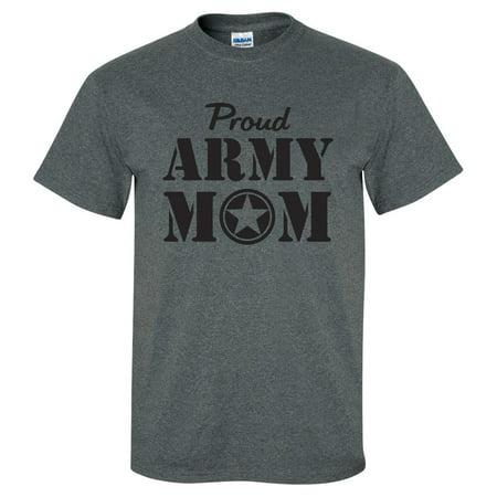 Proud ARMY Mom Short Sleeve T-Shirt in Dark Heather - Army Heather