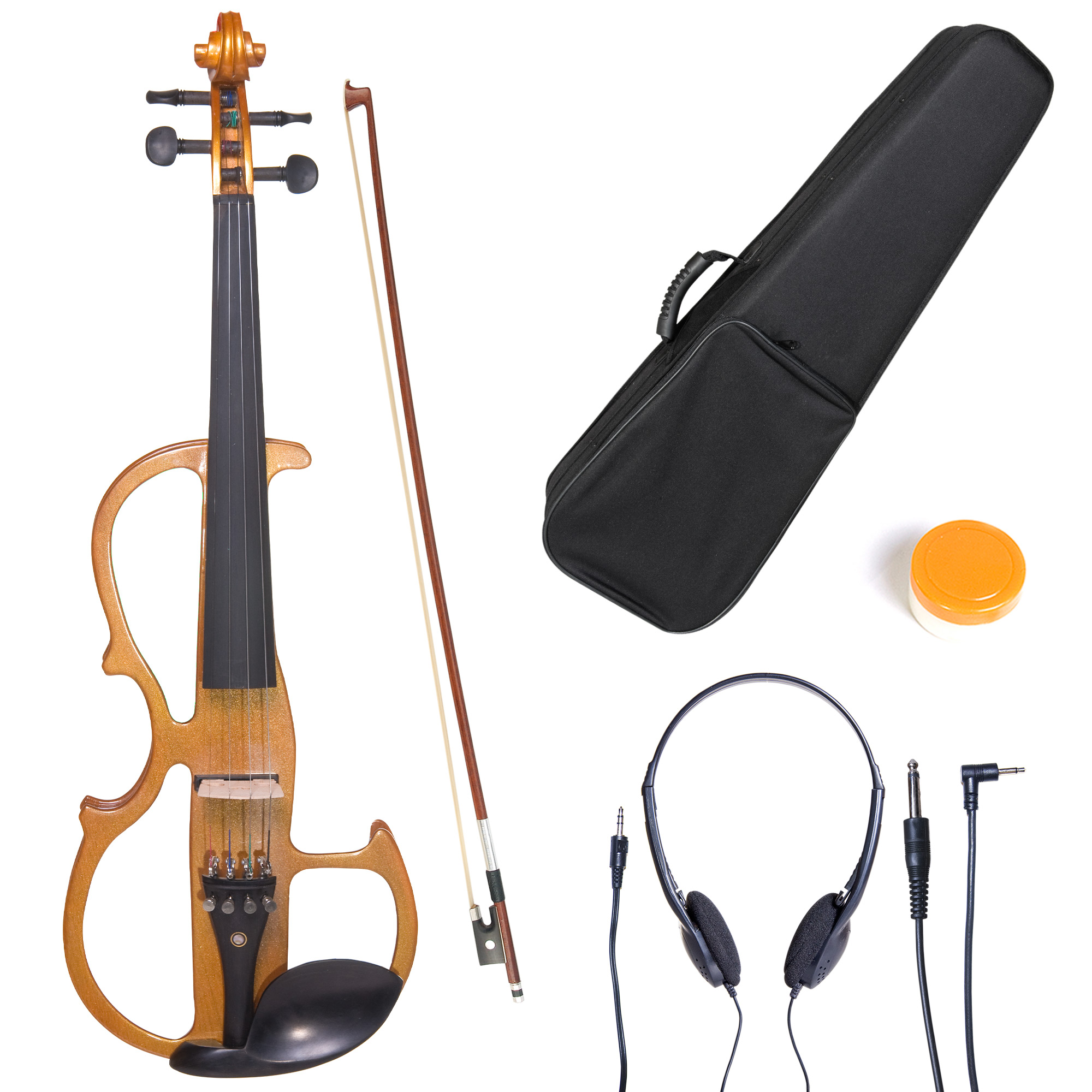 Cecilio Full Size Left-Handed Solid Wood Electric Silent Violin with Ebony Fittings-L4/4CEVN-L2Y Metallic Yellow Maple