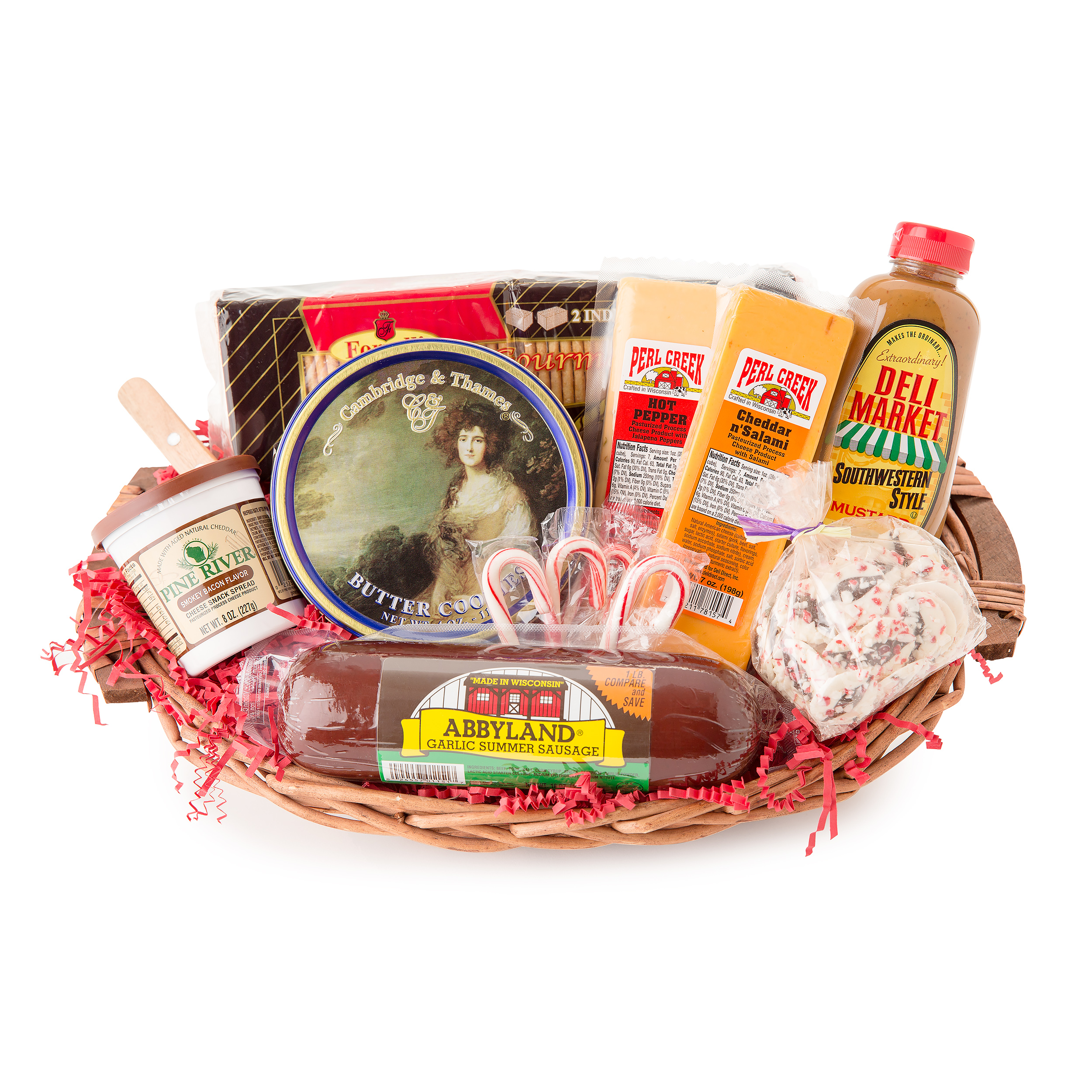 Holiday Party Favorites Gourmet Summer Sausage and Cheese Gift Basket